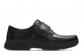 Clarks Mens Swift Turn Black Leather Shoes